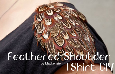 DIY: Feathered Shoulder Shirt