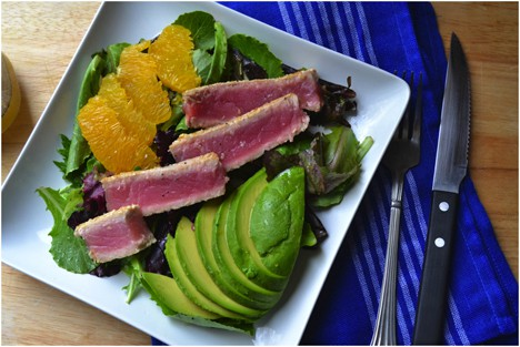 Ahi Tuna 1 Sesame Crusted Ahi Tuna, Avocado & Orange Salad