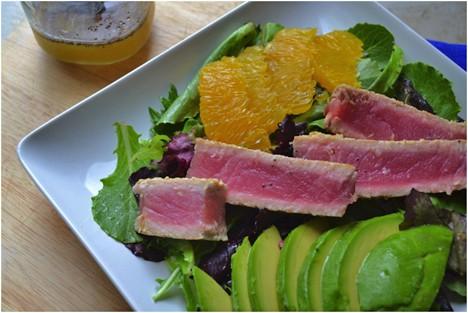 Sesame Crusted Ahi Tuna, Avocado & Orange Salad