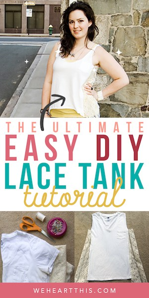 girl posing wearing a lace tank top with the text easy DIY lace tank tutorial