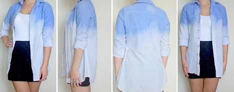 DIY ombre jean shirt styled