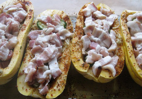 StuffedSquash5 Bacon Stuffed Delicata Squash Recipe