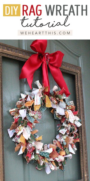 DIY shabby chic farmhouse rag wreath