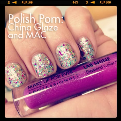 PP0127 Nail Polish Porn: China Glaze Pizzazz and MAC Quiet Time