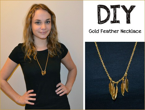 FeatherNecklace DIY Jewelry: Gold Feather Layering Necklace