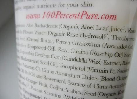100 Perecent Pure Body Cream ingredients