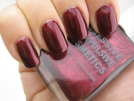 Obsessive Compulsive Cosmetics Black Metal Dahlia nail lacquer swatch
