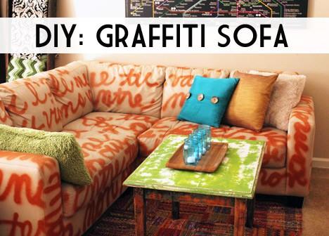 sofa 222 DIY Home Decor: Graffiti Sofa