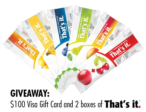 ThatsItGiveaway Giveaway: Win Thats It Fruit Bars and a $100 Visa Gift Card!