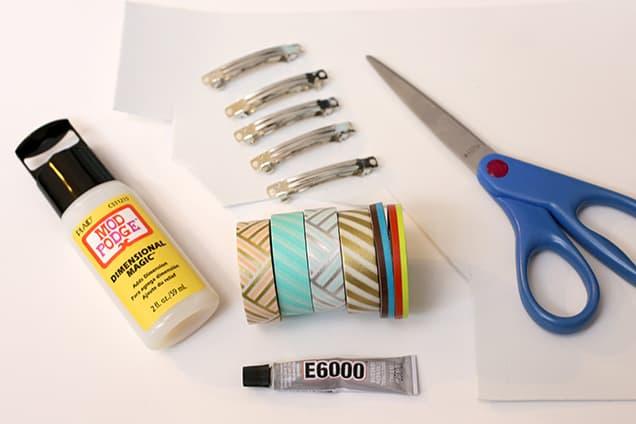 diy washi tape barrettes materials