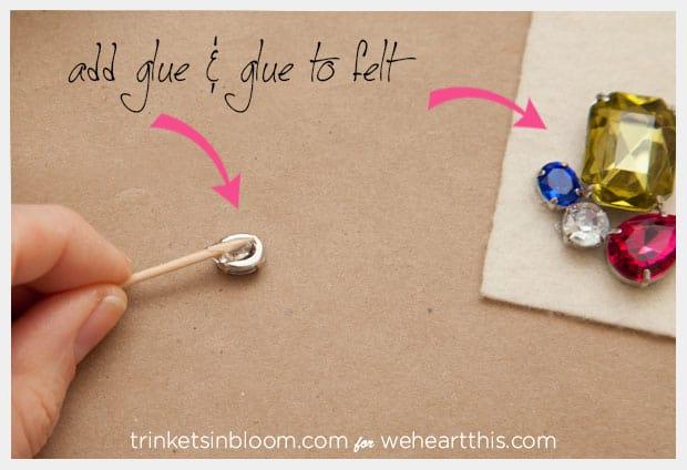 rhinestone hair pin gluing DIY Rhinestone Hair Pin