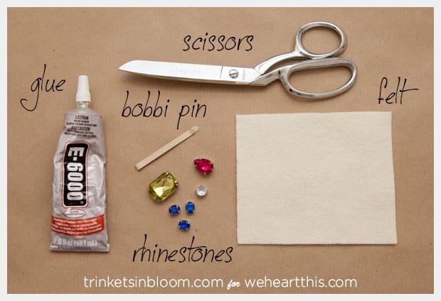 rhinestone hair pin supplies DIY Rhinestone Hair Pin