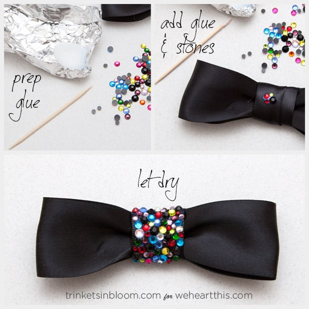 rhinestone bow necklace rhinestones ‏DIY Jewelry Project: Rhinestone Bow Necklace