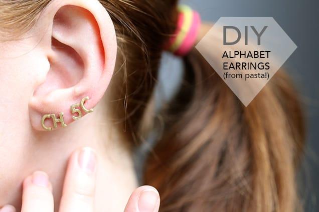 1.diyalphabetearrings introphoto DIY Jewelry: Alphabet Pasta Stud Earrings