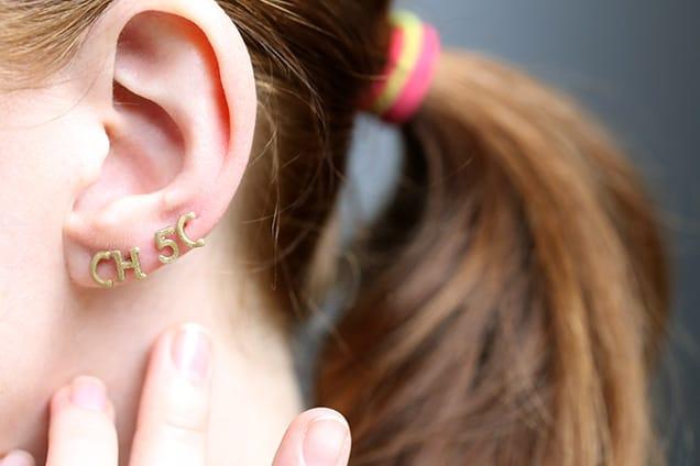 diyalphabetearrings done3 DIY Jewelry: Alphabet Pasta Stud Earrings