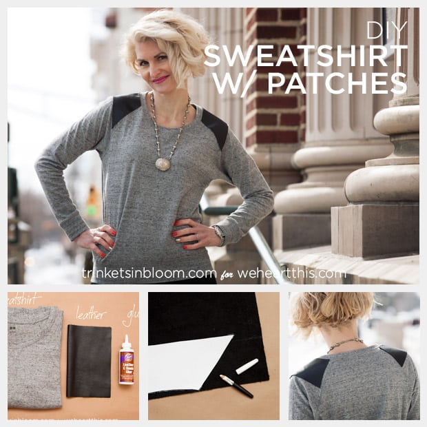 DIY sweatshirt leather patches feature 022514 DIY Sweatshirt with Leather Shoulder Patches