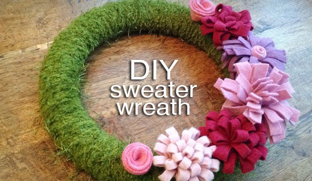 DIY Sweater Wreath 07.58.28 1 DIY Home Decor: Felted Sweater Spring Wreath