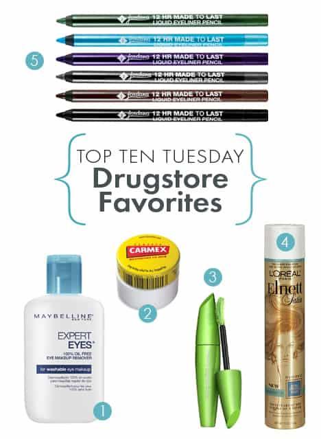 Top Ten favorite drugstore products 1B Top Ten Tuesdays: Favorite Drugstore Products