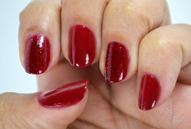 Milani Color Statement Nail lacquer red and red glitter Milani Color Statement Nail Lacquer Collection: Swatches and Review