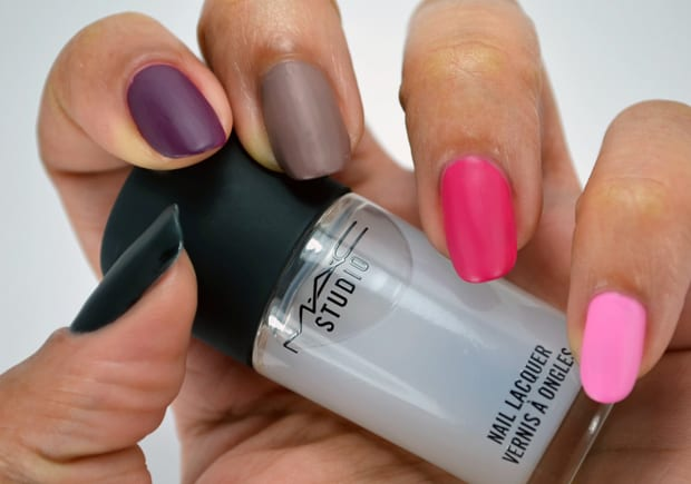 MAC Studio nail lacquer matte topper 13 MAC Nail Transformations Swatches and Review