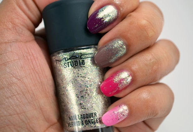 MAC Studio nail lacquer silver dew topper 17 MAC Nail Transformations Swatches and Review