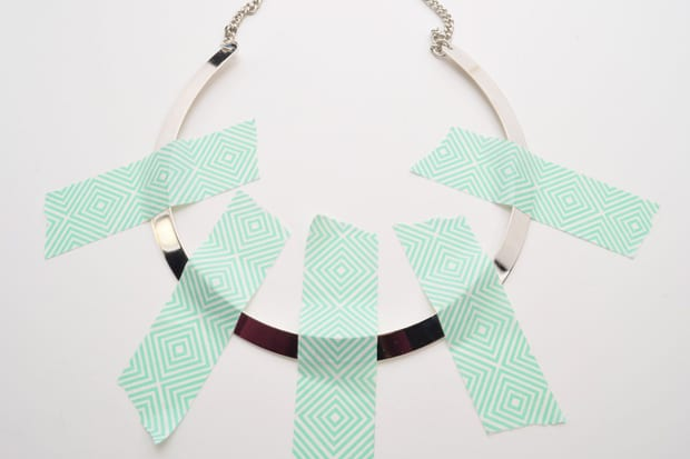 DIY Color Blocked Necklace 02 DIY Jewelry Project:  Color Blocked Metal Necklace