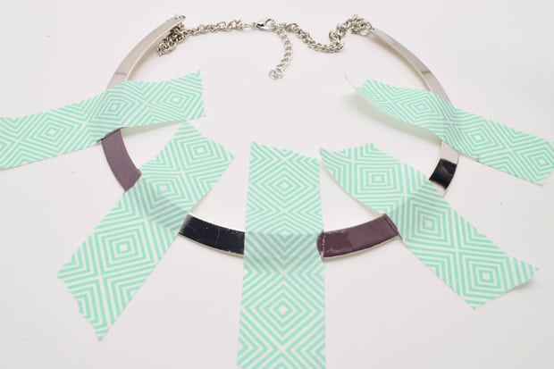 DIY Color Blocked Necklace 04 DIY Jewelry Project:  Color Blocked Metal Necklace