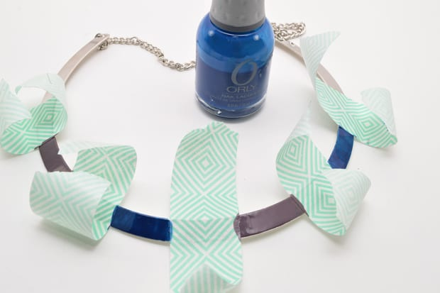 DIY Color Blocked Necklace 05 DIY Jewelry Project:  Color Blocked Metal Necklace