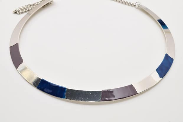 DIY Color Blocked Necklace 06 DIY Jewelry Project:  Color Blocked Metal Necklace