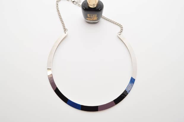 DIY Color Blocked Necklace 09 DIY Jewelry Project:  Color Blocked Metal Necklace