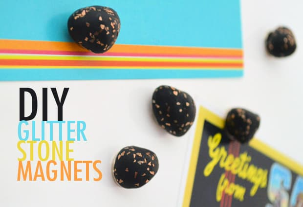 Easy DIY Project: Glitter Stone Magnets