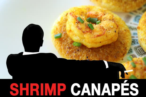 Mad Men Recipes: Shrimp Curry Butter Canapes and a Whiskey Sour