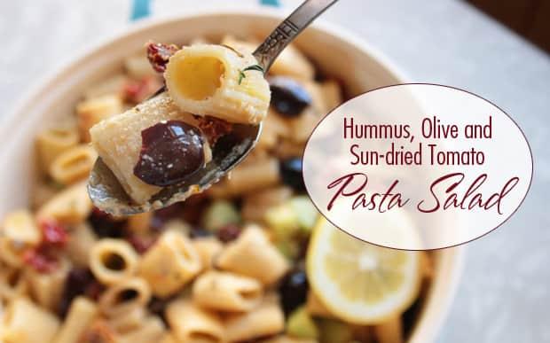 Hummus-olive-tomato-pasta-salad-recipe