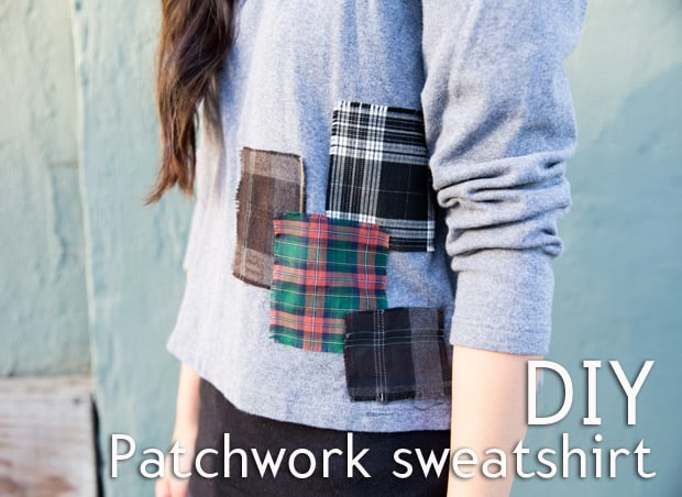 Easy DIY Projects: No-Sew Plaid Patchwork Sweatshirt