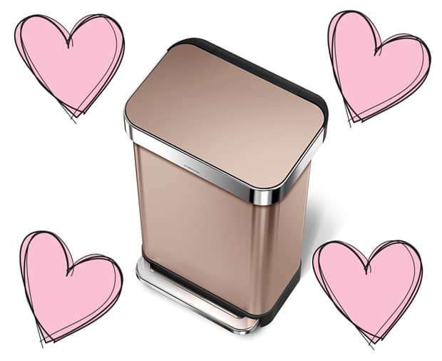 I heart my simplehuman rose gold trash can