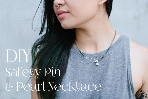 Easy DIY Projects Safety Pin and Pearl Necklace