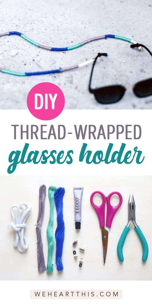 DIY thread wrapped sunglasses holder