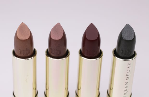 Urban Decay Vintage lipstick swatches 4 Urban Decay Vice Lipstick Vintage Capsule Collection swatches, review and looks