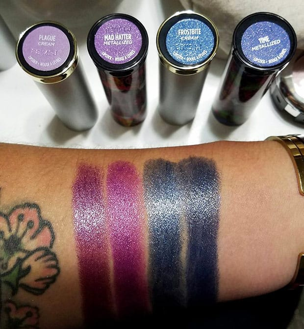 Urban Decay Vintage lipstick versus Alice Through the Looking glass Urban Decay Vice Lipstick Vintage Capsule Collection swatches, review and looks