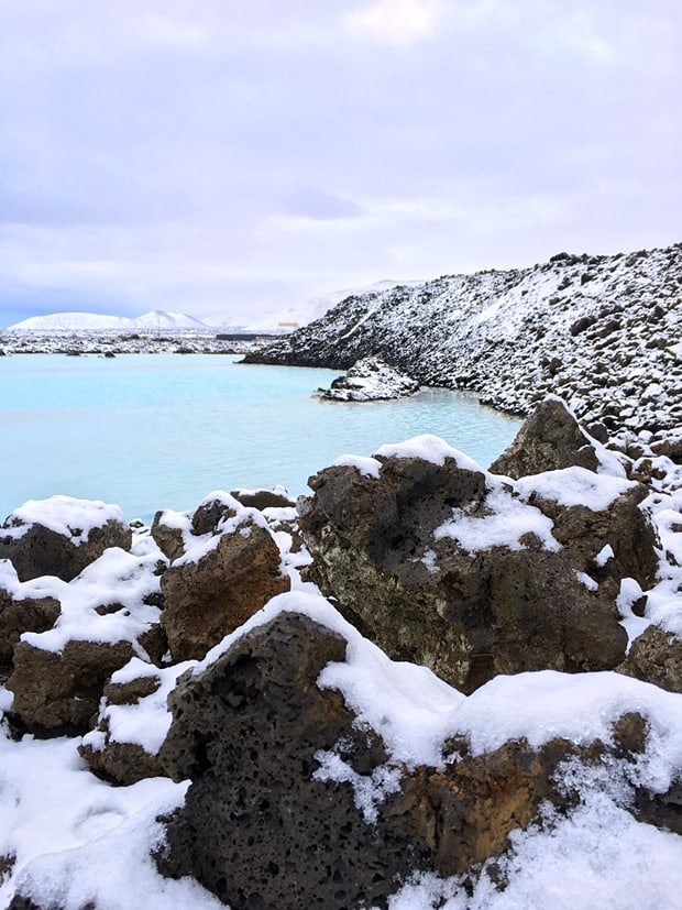 bright blue water at Blue Lagoon Iceland