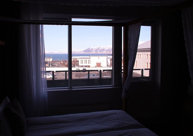 View from room of the Ghost House Hotel Eyja Guldsmeden Reykjavik Iceland