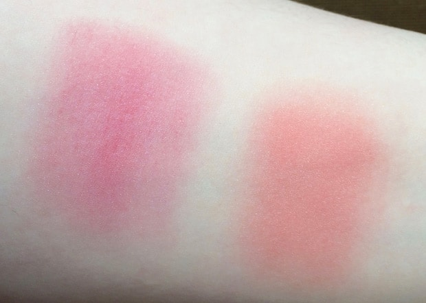 Chanel Tweed Coralline swatches Chanel Blush Duo Tweed Effect swatches and review