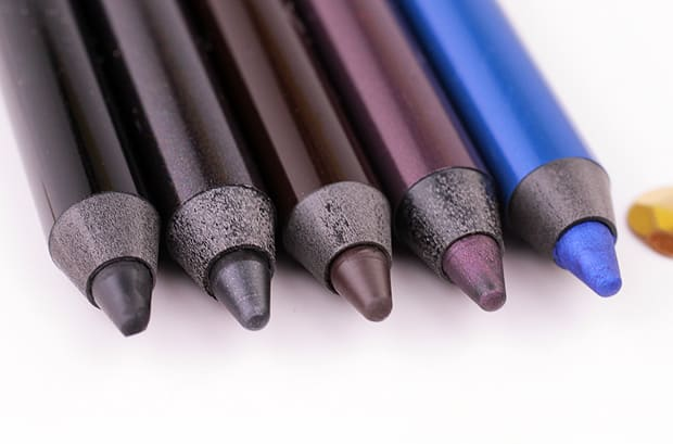 Milani Stay Put Waterproof Eyeliner Pencil swatches Linked On Black, Stay With Slate, Hooked On Espresso, Fixed On Plum, Keep On Sapphire from We Heart This