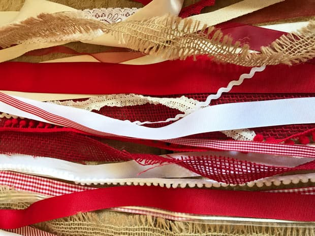 pieces of red and white ribbon