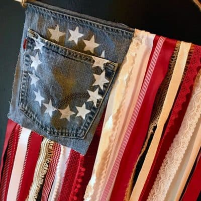 DIY Rustic American Flag with Denim and Ribbon – Easy DIY Projects