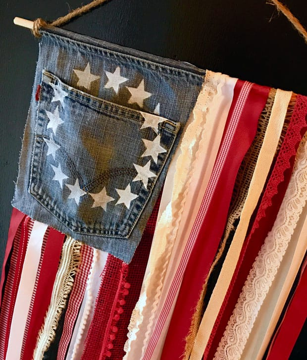 Easy DIY Projects Jean Ribbon Rustic Flag DIY Rustic American Flag with Denim and Ribbon   Easy DIY Projects