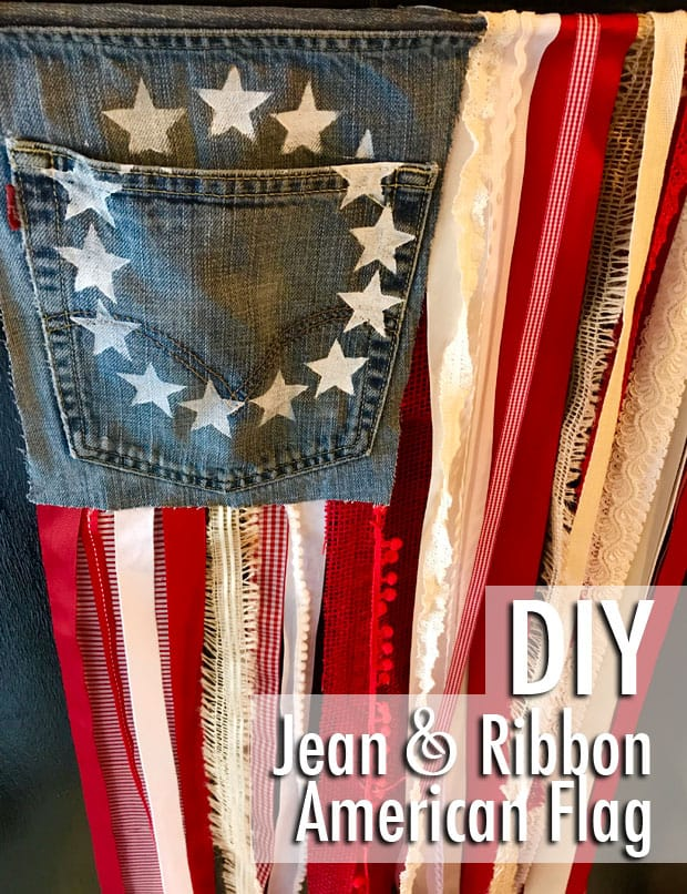 Simple DIY Jean Ribbon Rustic Flag 11 DIY Rustic American Flag with Denim and Ribbon   Easy DIY Projects