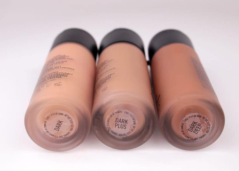 MAC Next to Nothing Face colour bottles dark plus deep MAC Next to Nothing Face Colour and Pressed Powder swatches and review