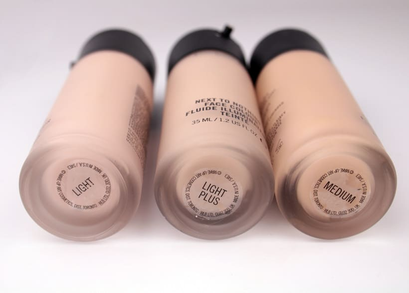 MAC Next to Nothing Face colour bottles light plus medium MAC Next to Nothing Face Colour and Pressed Powder swatches and review