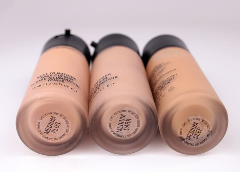MAC Next to Nothing Face colour bottles medium plus dark deep MAC Next to Nothing Face Colour and Pressed Powder swatches and review